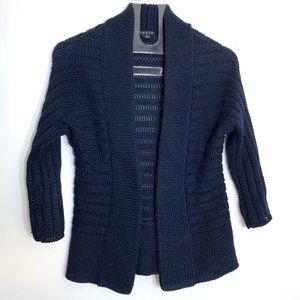 Theory Eila Surface Cardigan Open Navy Blue Cotton